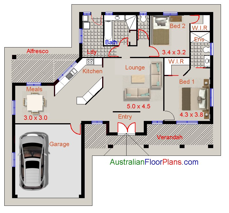 Australian house plans 2 bedroom design ideal real estate for Ensuite design plans