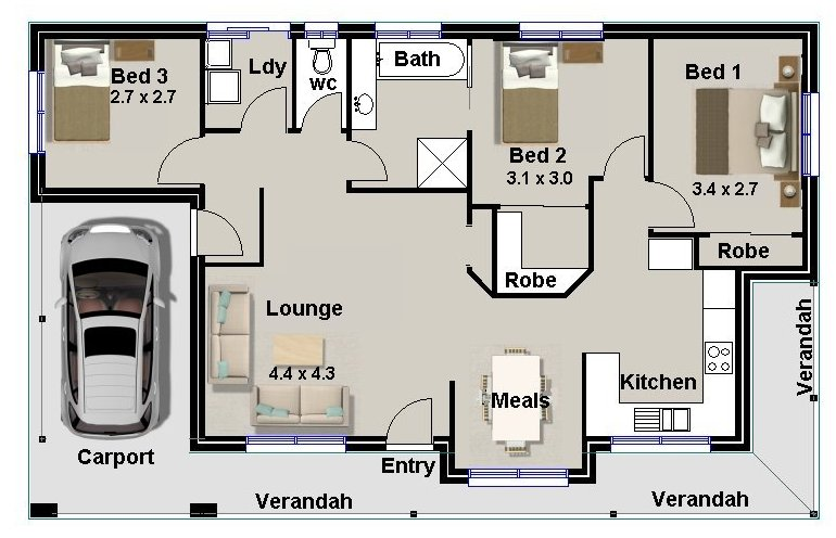 Homestead 3 bedroom big living area real estate house plans for sale ebay - Three bedroom house floor plans ...