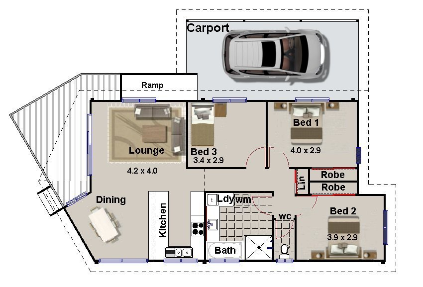 Plan 137fr narrow block design carport 3 bedroom for 2 bedroom house plans australia