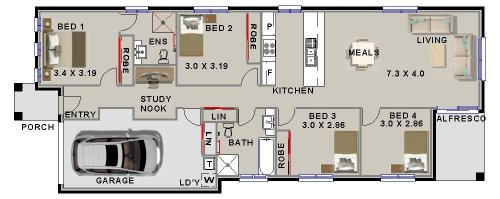 4 Bed Narrow Lot  Home Plan