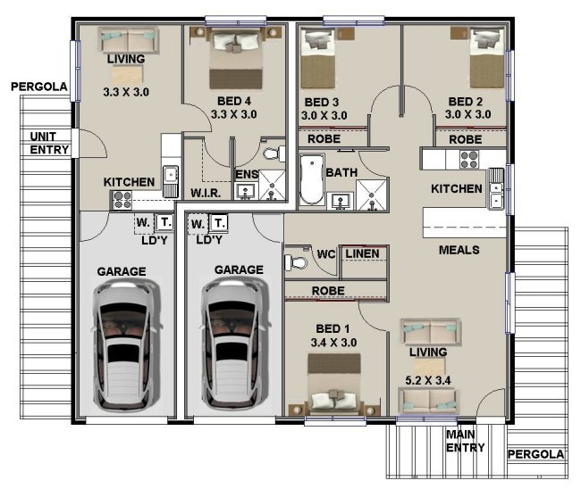 mirror Dual Key floor plans Design