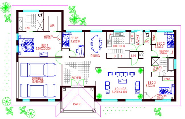 4 bed floor plan