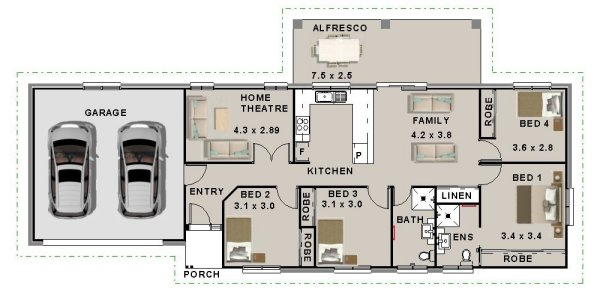 4 Bed With Home Theatre House Plan:174AD