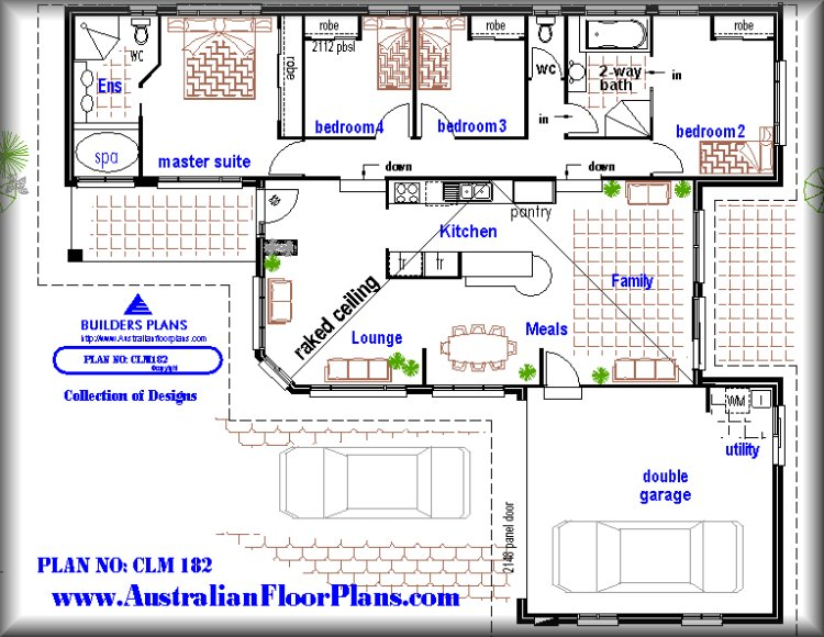 Plan182 Split Level 4 Bedroom Home Floor Plans - 4 bedroom house floor plans