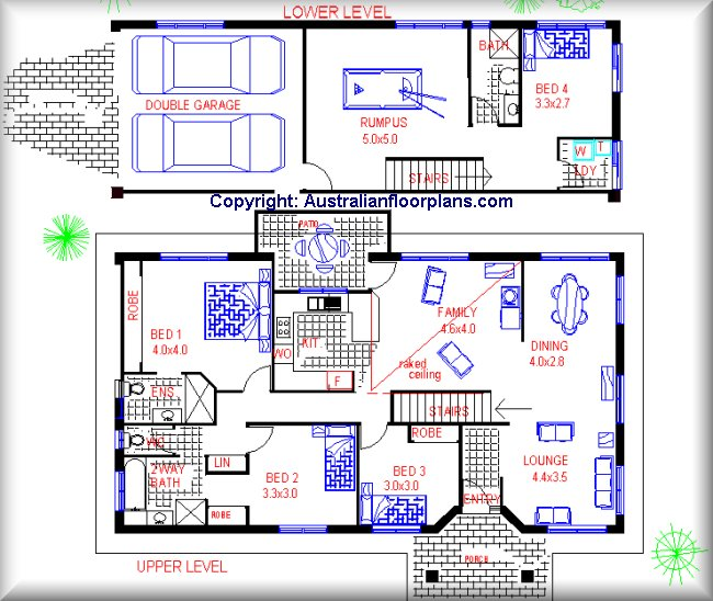 2 story house floor plans. 218 Sloping land floor plan