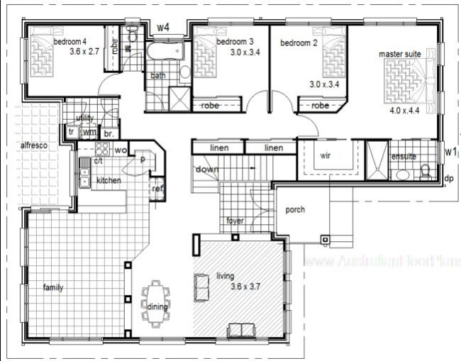 4 Bedrooms - sloping land home plan