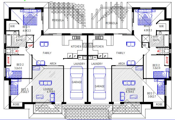 6 Bedroom Duplex Design Plan:234DU