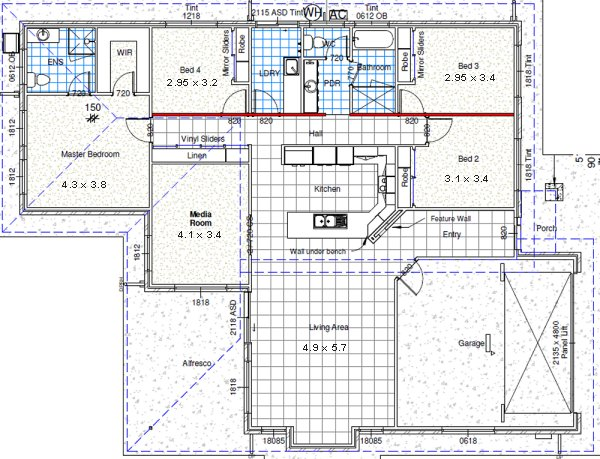 custom 4 Bed house plans