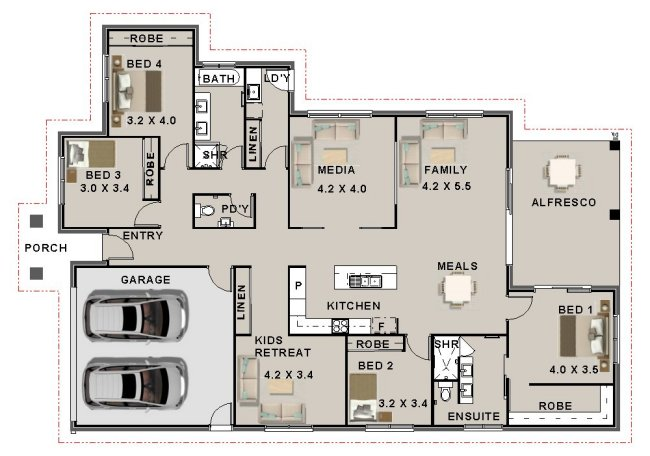 4 Bedroom Media Kids Retreat Kit Homes New Kit Home