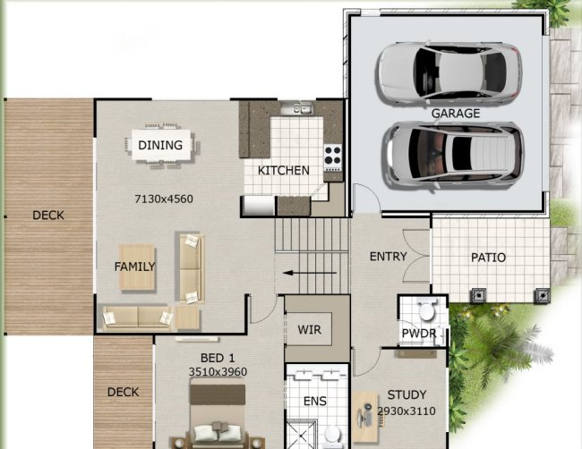 4 bed -study upper floor