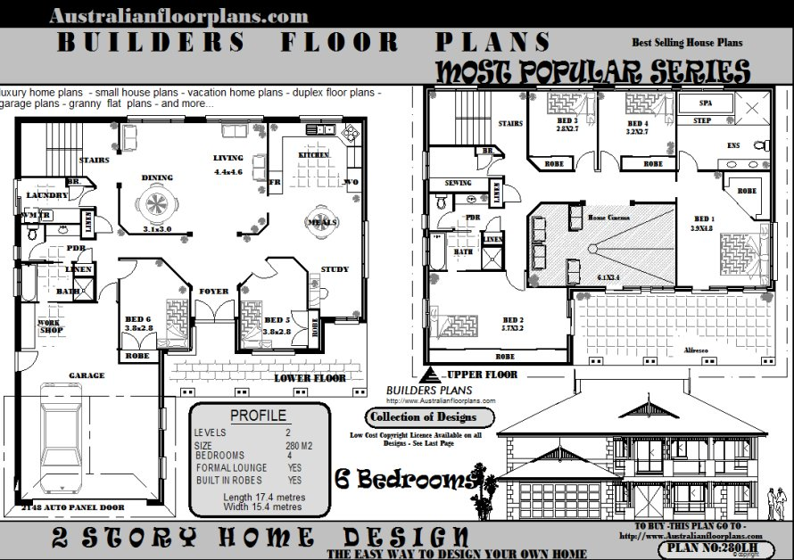 6 bedroom 2 storey house floor plans blueprints sale ebay for Six bedroom floor plans