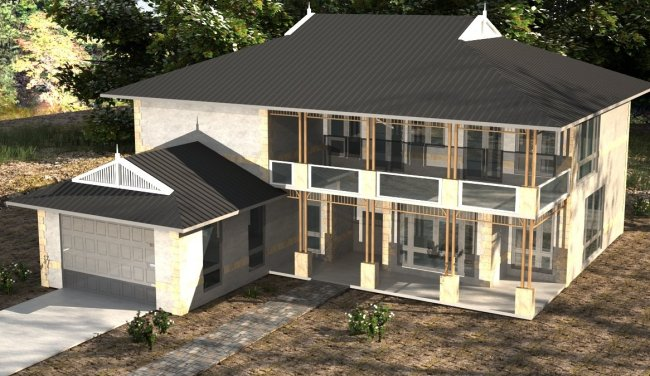 6 Bed Room + Study House Plan