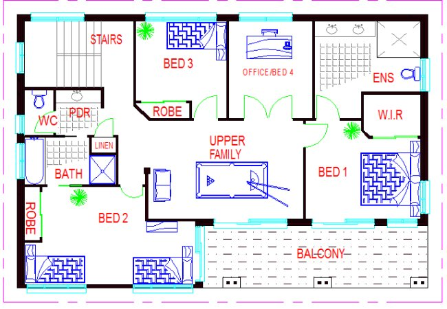 upper floorTwo Storey 4 Bed Room House Plan