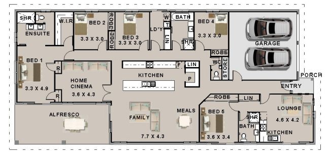 5 Bed Narrow Lot House Plan: