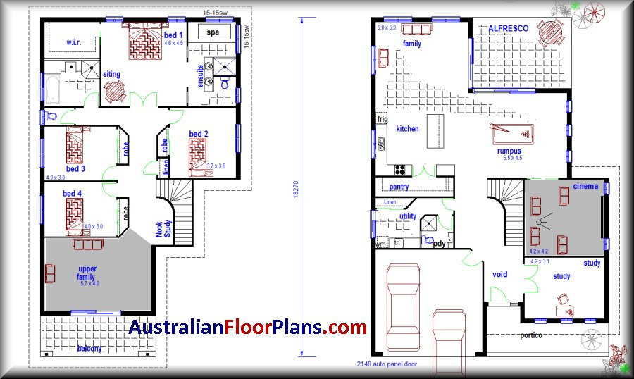 350 dugong kit home 2 storey construction plans left hand for Two storey residential house floor plan