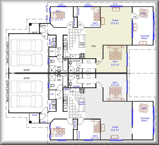 House Plan With Garrage 3 Bedrooms And Home Office