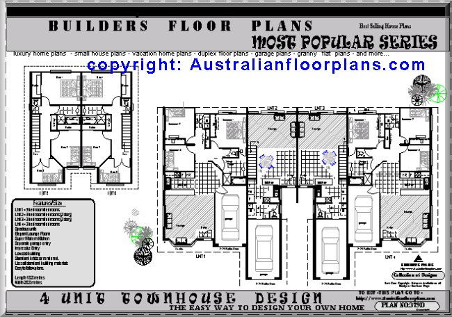 Townhouse duplex house construction floor plans blueprints for Up down duplex floor plans