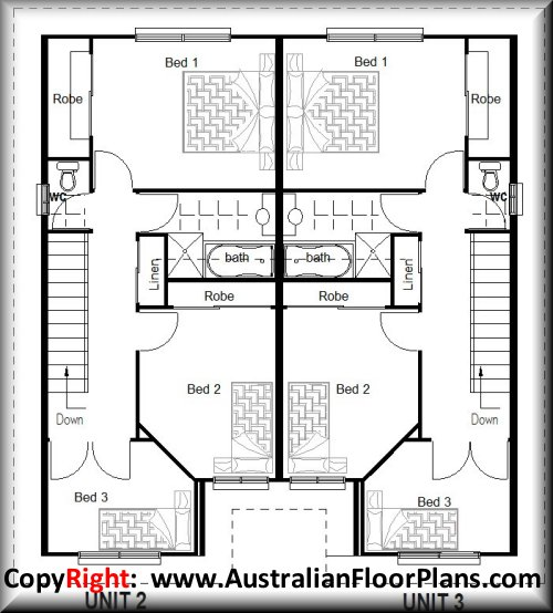Duplex plans, 2 bedroom duplex house plans