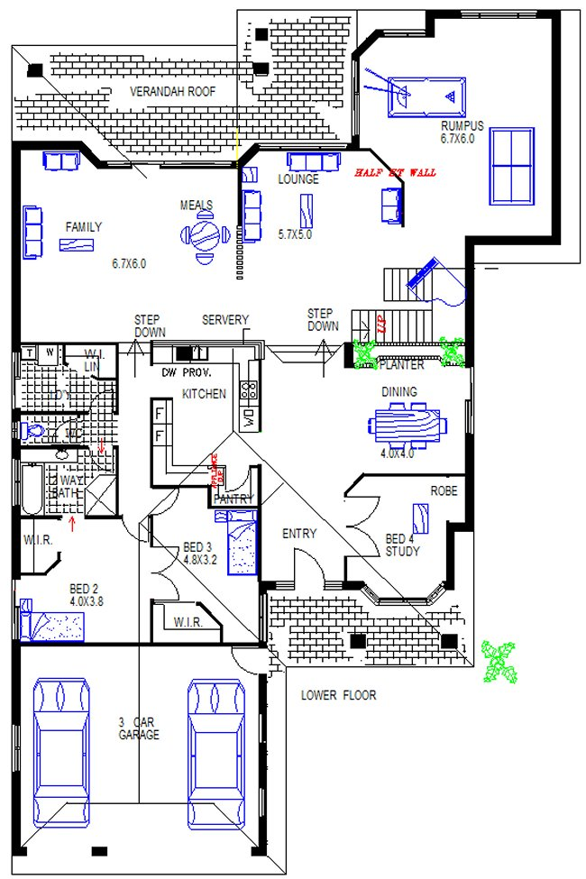 lower floor 5 Bed Room Twon Storey House Plan