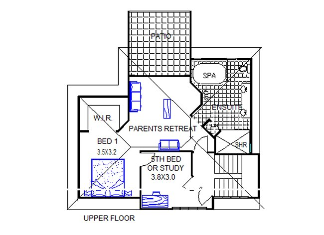5 Bed Room Twon Storey House Plan upper floor