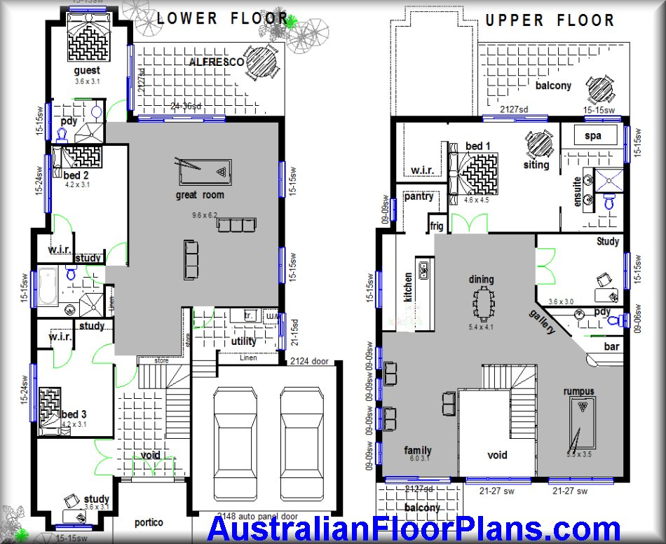 2 storey home hillside construction floor plans blue for Two storey house design with floor plan