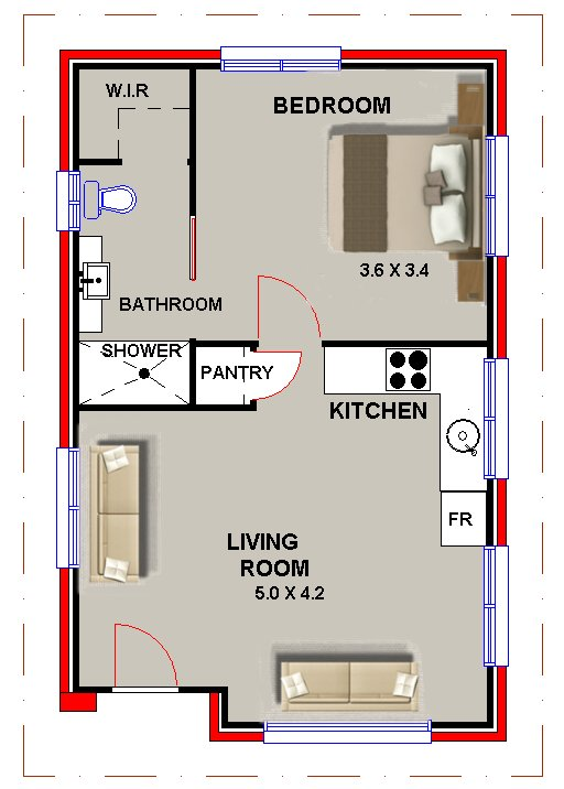 Granny Flat 1 Bed Home Office Sleep Ou Guest Quarters