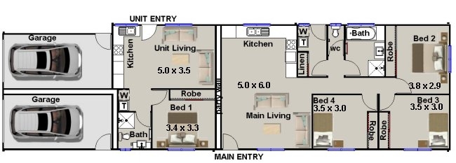Dual Key floor plans Design- Narrow Lot Design