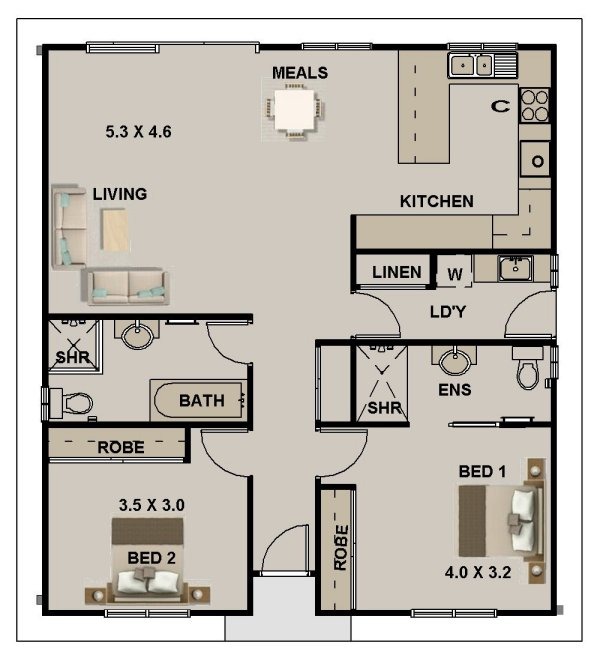 small 2 bedroom house plan