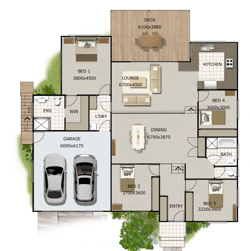 Split Level House Plan 4 Bedroom Sloping Land House Plan