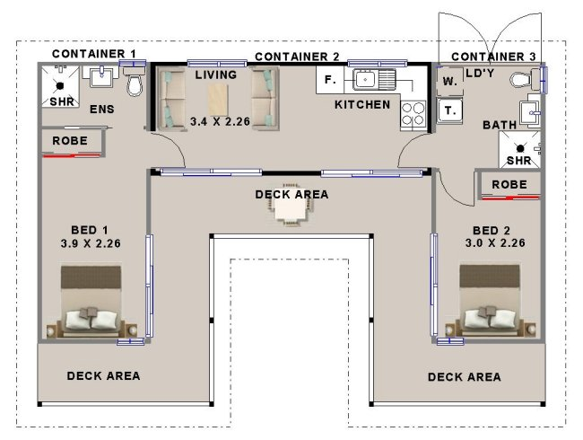 shipping container home floor plan