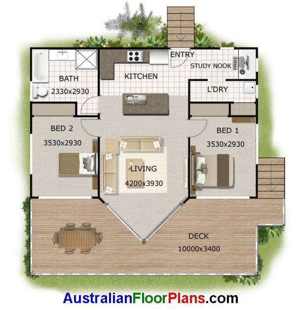 2 Bedroom Study Nook House Plan 100kr 2 Bedroom Design