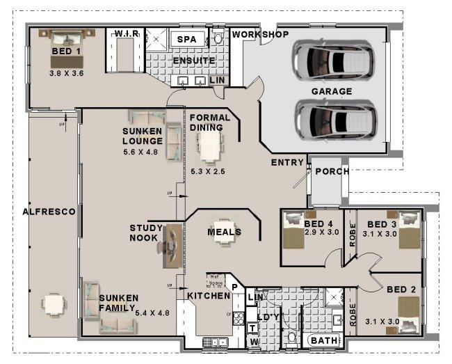 4 bed room split level home design 4 bed house plans 4 - 4 bedroom split level floor plans ...